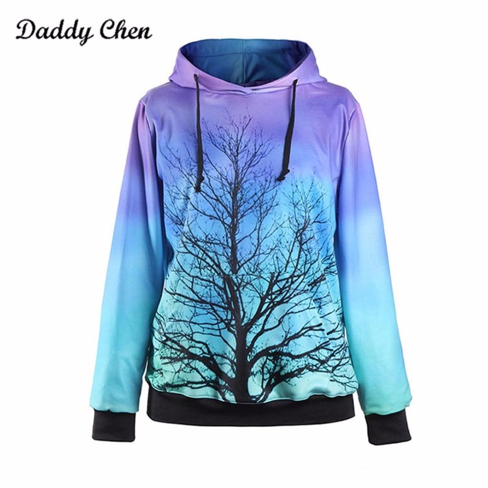 3d Hoodies Winter Women Moon Light Tree Funny Print Hip Hop Hooded Sweatshirt Fashion Loose Long Sleeve Tracksuits Pullover Tops