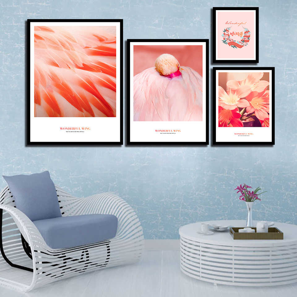 Modern Canvas Red Flowers Poster Wall Art Prints Ponk Flamingo Feather Pictures Nordic Style Painting Fashion Bedroom Home Decor