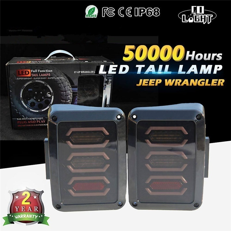 CO LIGHT USA Version LED Tail Lights 12V for Jeep Wrangler JK LED Rear Lights Turn Signal Reverse Parking Stop Brake Smoke Lamps combo for 2007 2015 jeep wrangler smoke lens amber led front turn signal light fender side marker parking lamp