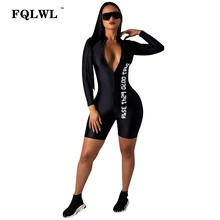 c86148ac23f2 FQLWL Black Bodycon Sexy Jumpsuit Shorts For Women Long Sleeve Fitness Rompers  Womens Jumpsuit Female Streetwear