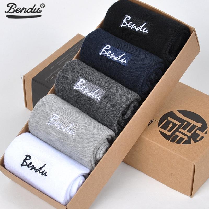 BENDU 5Pairs/ Lot Men Pure Cotton Socks Brand Guarantee Anti-Bacterial Breathable Comfort Man Crew Short Sock Spring Summer