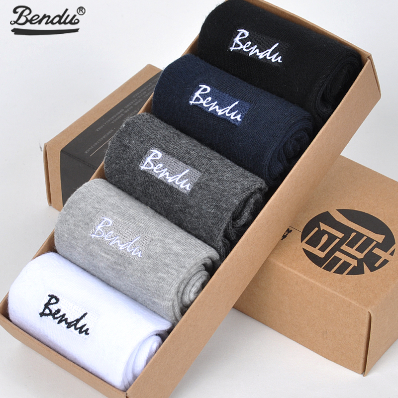 BENDU 5Pairs/ Lot Men Pure Cotton   Socks   Brand Guarantee Anti-Bacterial Breathable Comfort Man Crew Short   Sock   Spring Summer