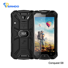 Rugged Waterproof Phone 2GB RAM 16GB ROM 6000mAH CONQUEST S8 Quad Core 5.0HD Ip68 GPS 4G LTE FDD Radio 13MP Walkie talkie