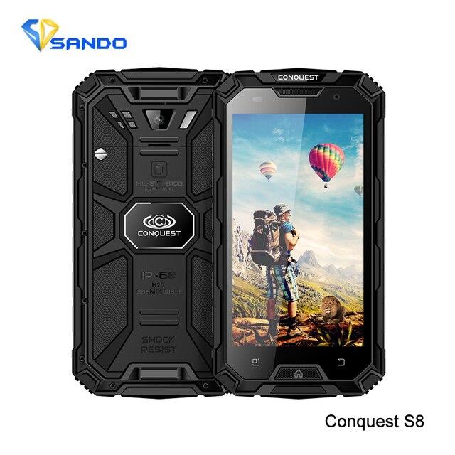 Rugged Waterproof Phone 2GB RAM 16GB ROM 6000mAH CONQUEST S8 Quad Core 5.0HD Ip68 GPS 4G LTE FDD Radio 13MP Walkie talkie S8 S9