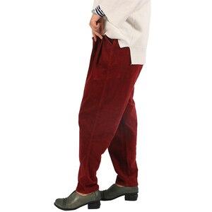 Image 3 - Johnature 2017 calças de veludo feminino do vintage outono inverno casual engrossar cintura elástica quente solto algodão plissado