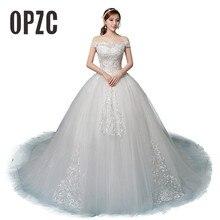 Новое поступление, свадебное платье, Vestido De Noiva, на заказ, 100 см, с вышивкой в виде поезда, аппликация, кружевной вырез лодочкой, с открытыми плечами