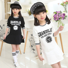 Children s Wear New Girls Large Cotton Long Sleeved Dress Girl Princess Kids Clothing Letters Printing