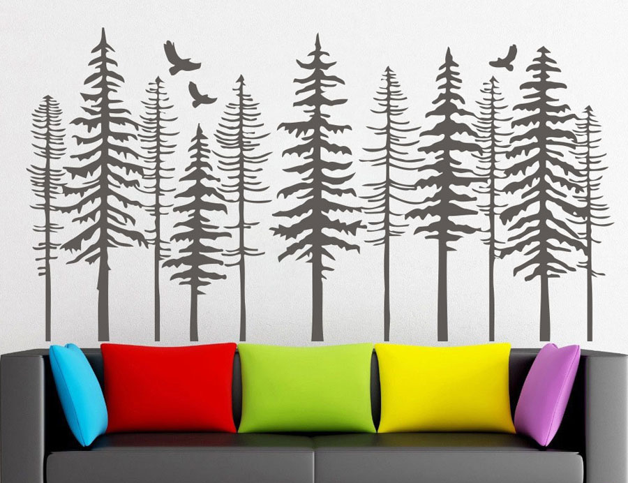 Large Pine Tree Forest Wall Decals - Tree Wall Decals Modern Nature Decor, Pine Tree Silhouette Wall Sticker Living Decor LR73