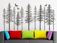 Large Pine Tree Forest Wall Decals - Modern Nature Decor, Silhouette Sticker Living Decor LR73