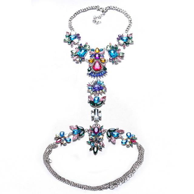 Women DIY Handmade Luxury Long Fashion Crystal Statement Necklace Pendant Set