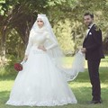 Chic Muslim Wedding Dress 2017 Spandex Long Sleeves Hijab Lace Appliques Bride Dresses Islamic Wedding Gowns robe de mariee