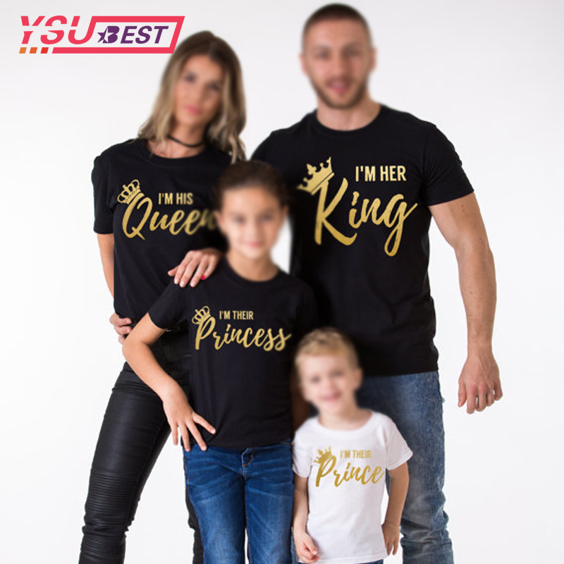 2019 Mother Daughter Family Matching Outfits Matching Father Mother Daughter Son Clothes Cotton T-shirt King Queen Family Look(China)