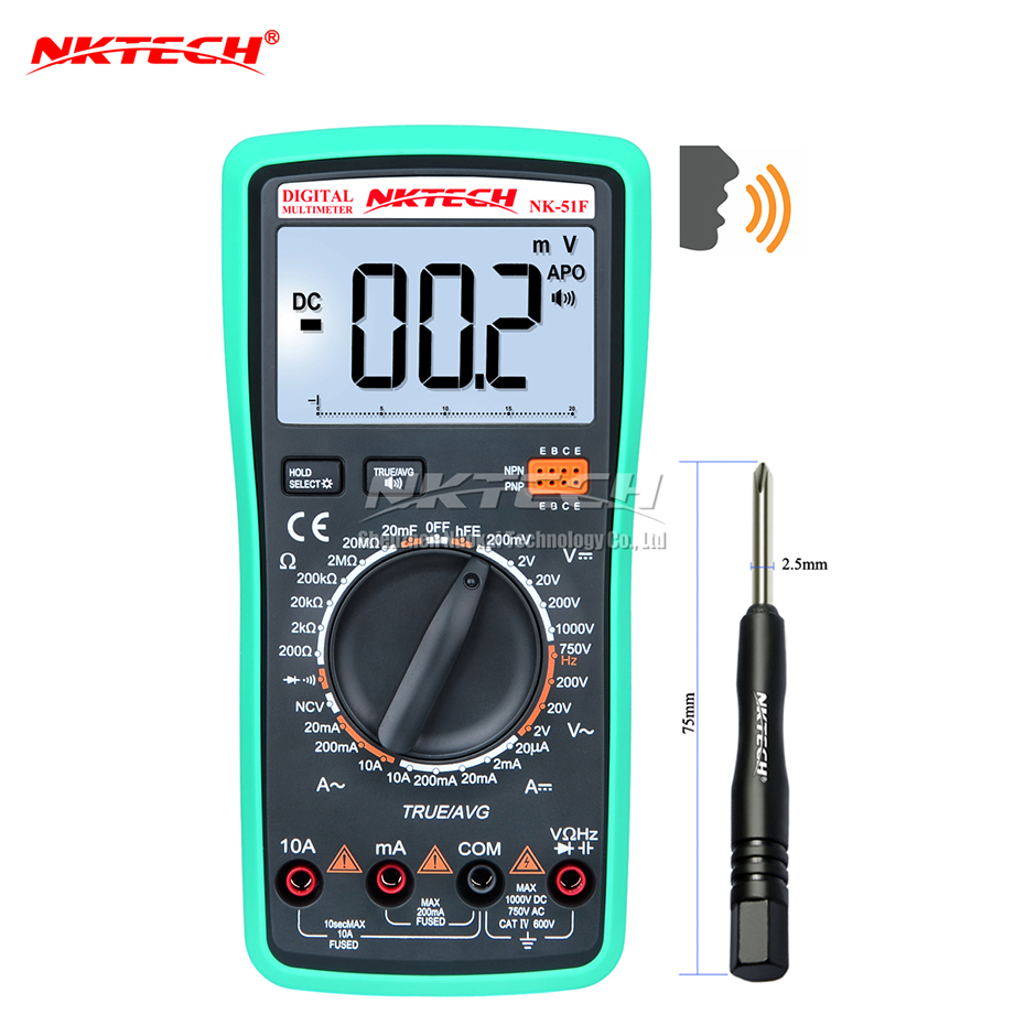 NKTECH Digital Multimeter Voice Value NK-51F True RMS Capacitance Resistance AC DC Voltage Current Voltmeter Meter Diode Tester my68 handheld auto range digital multimeter dmm w capacitance frequency