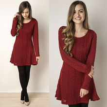 Women Twisted Back Slit Sweater Dress dames Kleding jerseis knitted pull Femme Long Jumper midi pullover Sweater Dresses