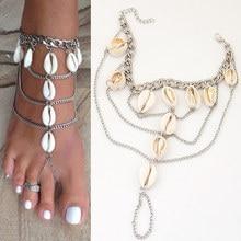 Мода Shell Браслеты посеребренные Браслет-Цепочка Пляж Ювелирные Изделия Этническая Ножной Браслет Браслет для женщин