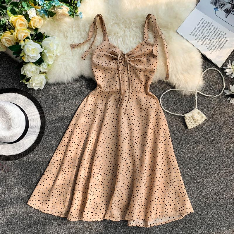 Holiday 2019 New Flower Print V-collar Drawstring High Waist Slim A-line Beach Dress Women Vestidos 3