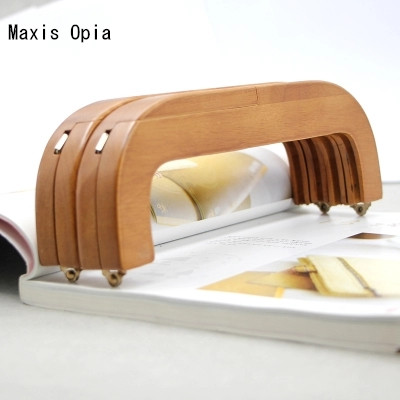 1 Pieces size 23.5 cm Coffee Color Solid Wood Material China Online Shop Wholesale Wooden Purse Frame Obag Handle Wood Handle