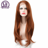 MSIWIGS Orange Color Front Lace Wigs Synthetic Hair Long Kinky Straight Wigs For Women Heat Resistant