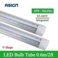 1 PCS LED Tube V Shape Integrated LED Bulbs Tube T8 2FT 20W 600mm 96LEDs SMD2835