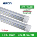 1 PCS LED Tube V-Shape Integrated LED Bulbs Tube T8 2FT 20W 600mm 96LEDs SMD2835 Super Bright 2000lm Led Fluorescent Lights