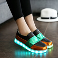 Zapatos zapatos mujeres pathwork negro luz led precio bajo blanco 2016 mujeres de la plataforma plana con goma calzado informal 4.5-7.5