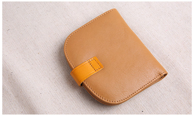 Mulheres, botão-up mini bolsa, carteira de couro retro