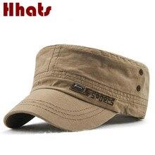 bf469ac382da8 Homens Chapéu Militar plana Masculino Chapéu de Algodão Ajustável Cap Boné  de Beisebol Do Vintage Do