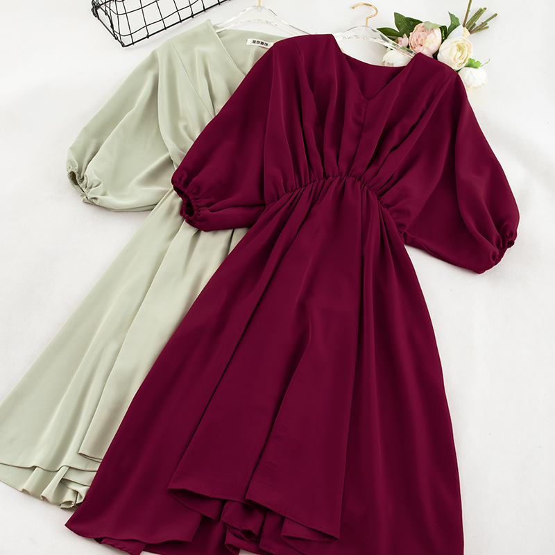 Elegant Women Summer V-Neck Half Lantern Sleeve Pullover Chiffon Dress Casual Solid Elastic Slim High Waist Pleated A-line Dress