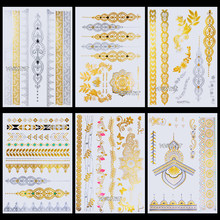 Lace Henna Flower Flash Tattoo Stickers Women Chains Gold Metallic Temporary Tattoo Girls Ankle Waterproof Tatto Wrist Jewel(China)
