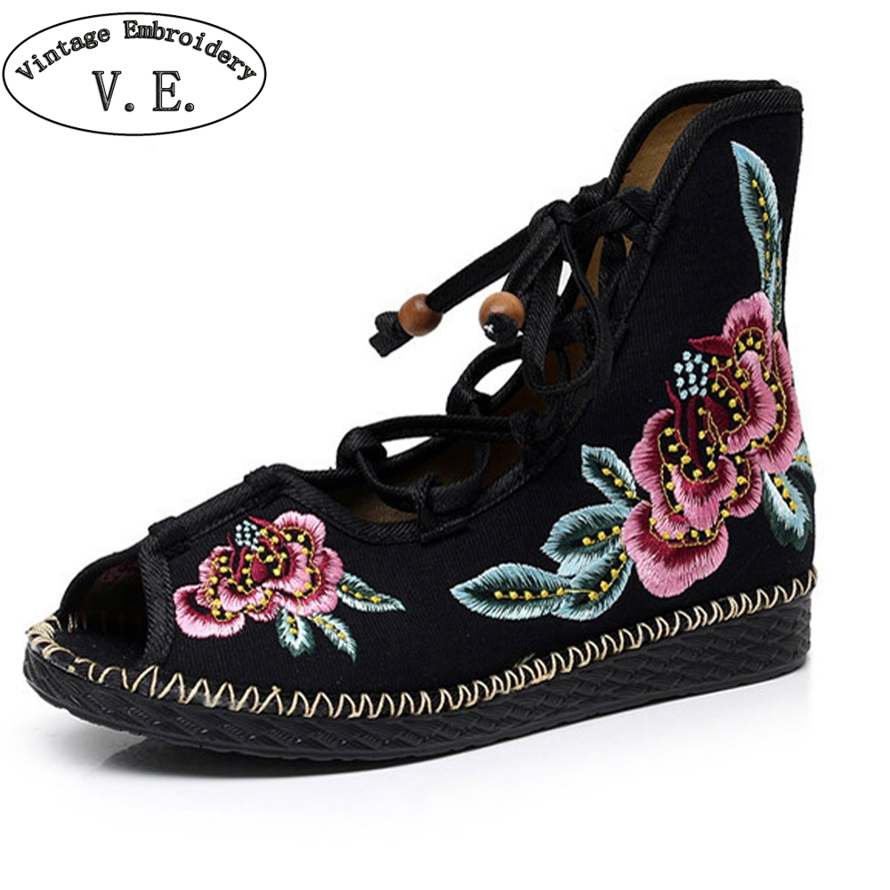 New Chinese Women Boots Flower Sandals Peep Toe Floral Embroidered Shoes Ethnic Lace Up Shoes Woman new women chinese traditional embroidered shoes f002