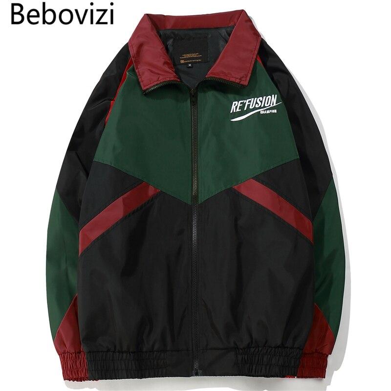 3961291dc6074 Bebovizi marca pareja vintage color bloque patchwork full zip hasta chaqueta  Abrigos hip hop Street casual Track Chaquetas en Chaquetas de La ropa de  los ...