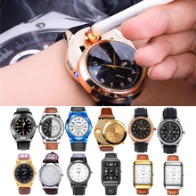 14 типов военные Непламено ветрозащитный зажигалка часы Для мужчин электронный Перезаряжаемые USB зажигалки зарядки спортивные часы 45
