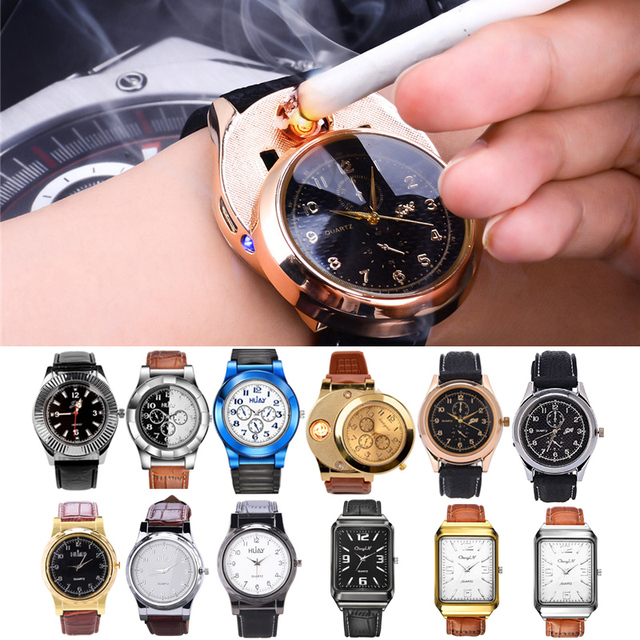 14 types Military Flameless Windproof Cigarette lighter Watch Men Electronic Rec
