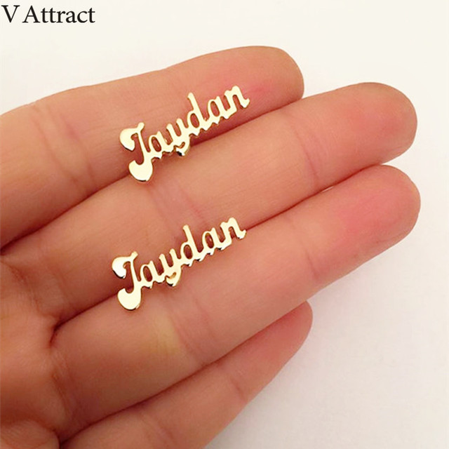 V Attract Stainless Steel Personalized Name Stud Earrings For Women Handmade Custom Jewelry Bridesmaid Gift Rose.jpg 640x640 - V Attract Stainless Steel Personalized Name Stud Earrings For Women Handmade Custom Jewelry Bridesmaid Gift Rose Gold Oorbellen