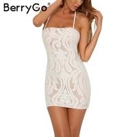BerryGo Sexy Backless Lace Up Bodycon Dress Women Slim Lace Black Short Mini Dress 2017 Evening