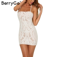 BerryGo Sexy Backless Lace Up Bodycon Dress Women Slim Lace Black Short Mini Dress 2017 Evening