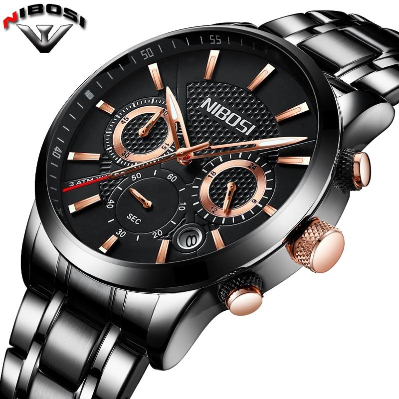 Relogio Masculino NIBOSI Watch Fashion Style Watch Men Luxury Waterproof Black Watches Male Clock Sport Quartz Wristwatches Saat