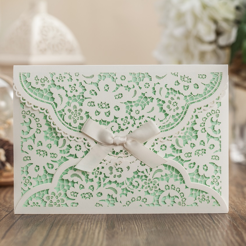 Aliexpress White Laser Cover Wedding Invitation Card With Green Inner Sheet Business Birthday Party From