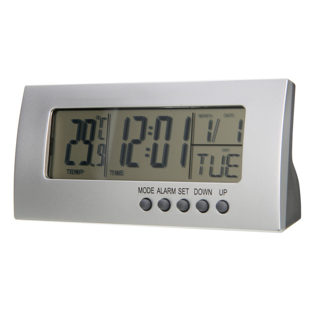 Mayitr Modern Digital Alarm Clock Battery Clock LCD Display Calendar Snooze Thermometer Kids Table Clocks