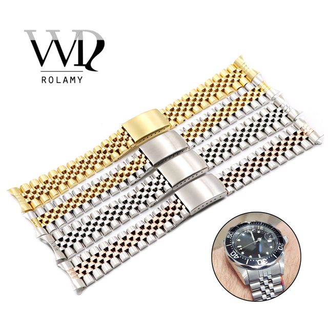 Rolamy 19 20 22mm Watch Band Strap Stainless Steel Two Tone Hollow Curved End Solid Screw Links Replacement Watchband Strap