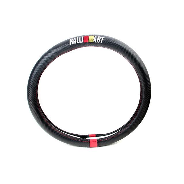 Tampa da roda de direcção do carro de fibra de carbono estilo de couro do plutônio para mitsubishi outlander lancer ralliart