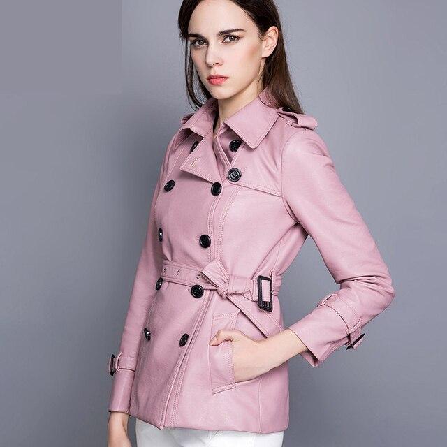 0f7b16b3c0fe Ajusté ceinture double breasted tranchée de moyen-long faux vêtements en cuir  femmes manteau mince