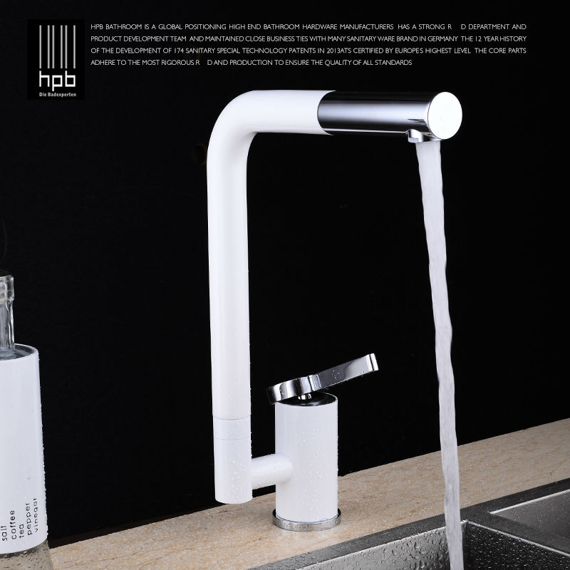 HPB Brass White Kitchen Mixer Rotary Sink Faucet Deck Mounted Hot And Cold Water Tap Pb-free torneira cozinha HP4007