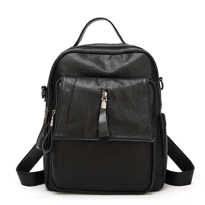 Fashion Cowhide Genuine Leather Women Backpack Casual Rivet Shoulder Travel School Bags Tassel Backpacks For Teenage Girls N083