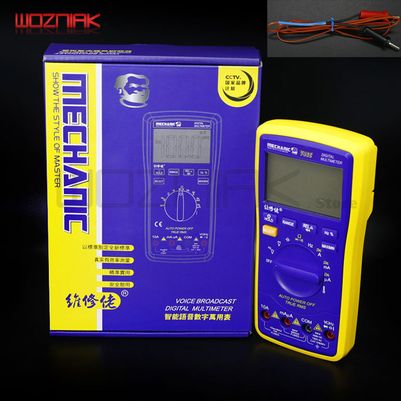 Wozniak Best V96E LCD Digital Automatic speech Broadcast Auto Range Digital Multimeter Full protection AC/DC цены