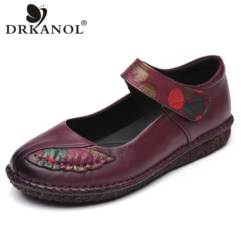 DRKANOL New Spring Autumn Women Shoes Loafers Genuine Leather Flat Shoes Comfortable Handmade Cowhide Casual Shoes Woman Flats genuine leather handmade women shoes vintage spring and autumn women shoes flat shoes low top casual shoes free shipping