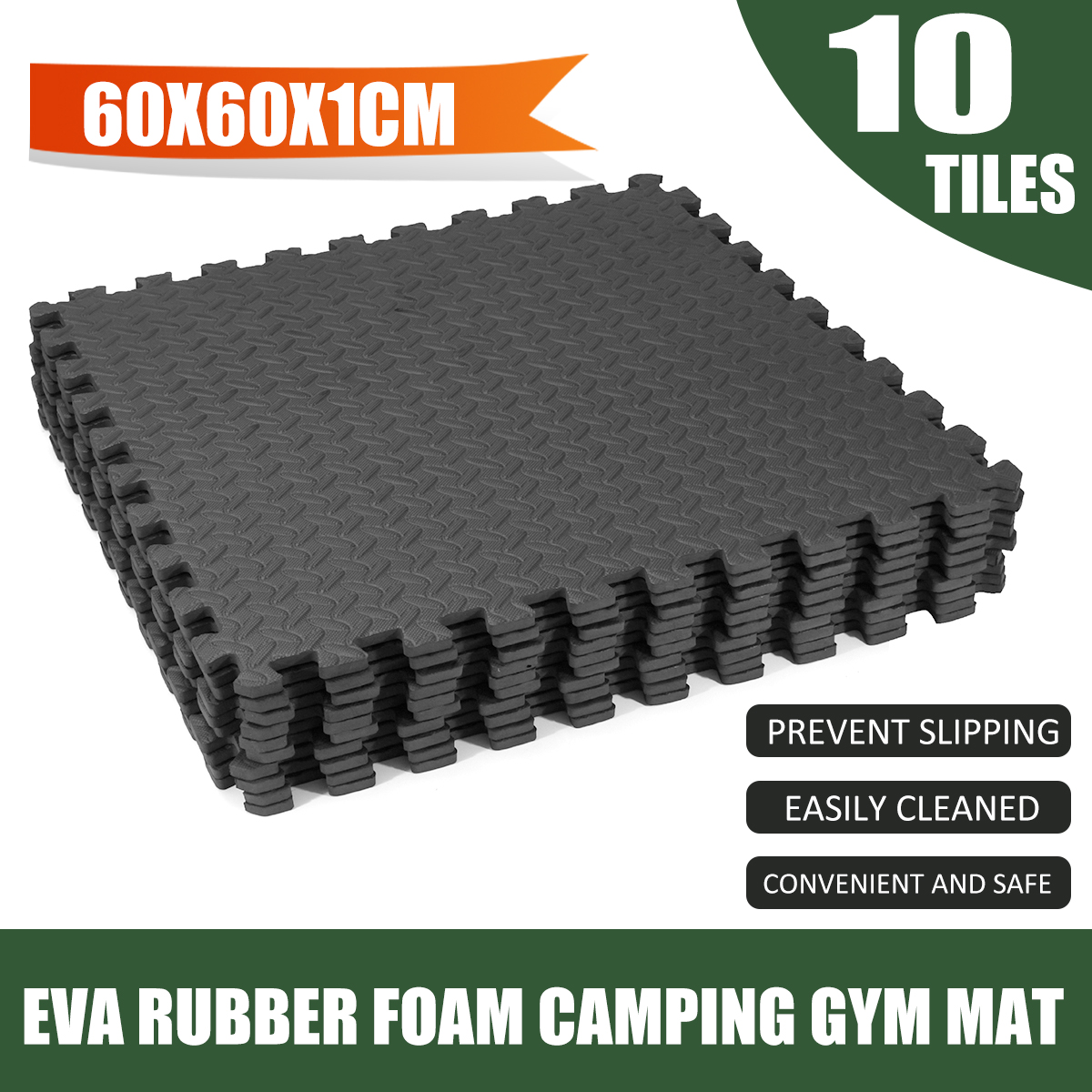 10 PCS EVA Rubber Foam Play Mat Camping Gym Mat Kids Fitness Exercise Floor Carpet Rug 6 ...