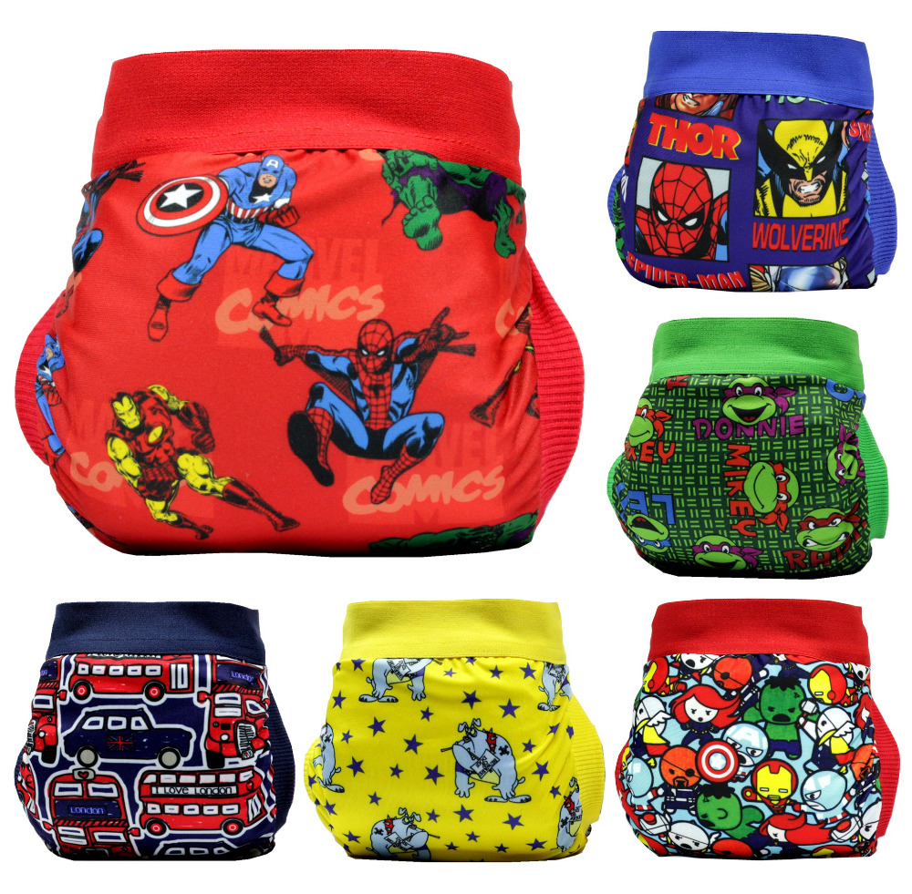 FREE SHIPPING 2018 superhero gladbaby diaper costume spiderman captain American cloth diaper nappies Adjustable washable
