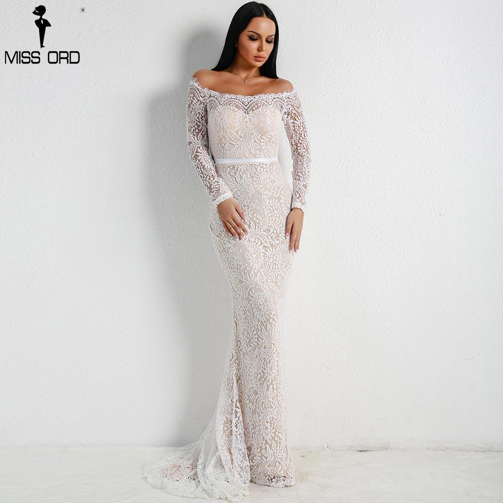 Missord 2018 Для женщин пикантные с открытыми плечами кружева платья Женский спинки макси элегантное праздничное платье Vestdios FT18306