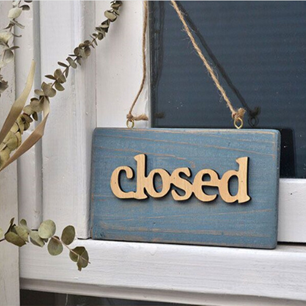 Vintage Wooden Open Closed Welcome Sign Plaque Blue Cafe Shop Door Hanging Sign Sign Type:welcome Hanging Decoration Sign Low Price Wind Chimes & Hanging Decorations